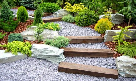 Gravel with Wooden Steps
